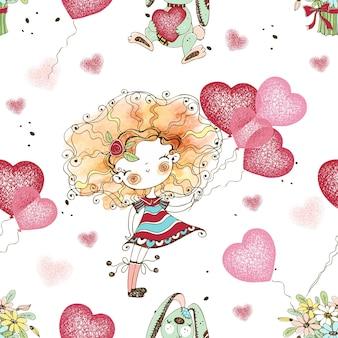 Бесшовный фон с милой маленькой девочкой с воздушными шарами в форме сердца. день святого валентина. день рождения. вектор.