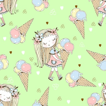 Seamless pattern with a cute little girl with ice cream on a green background. vector.