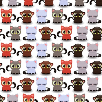 Seamless pattern with cute little kittens of various color