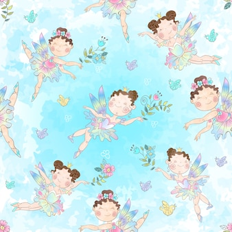 Seamless pattern with cute little magical fairies.