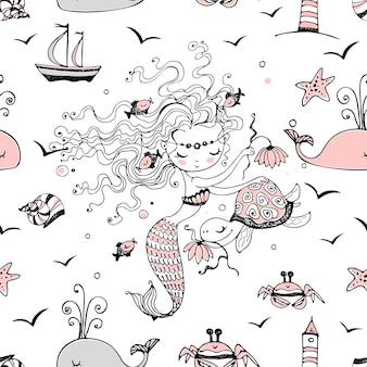 Seamless pattern with cute little mermaids. vector.