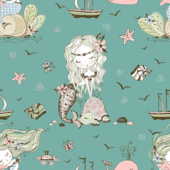 かわいい人魚とのシームレスなパターン。ベクター