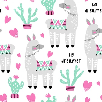 Seamless pattern with cute llama and cactus