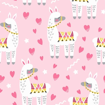 Seamless pattern with cute llama in love and hearts.