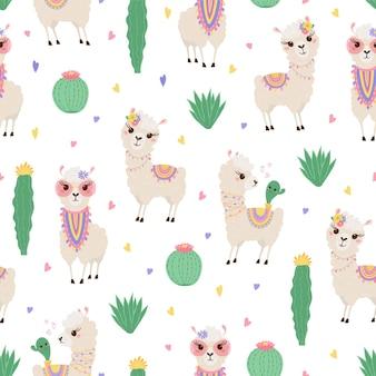 Бесшовный фон с милыми ламами и кактусами