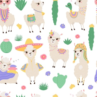 Seamless pattern with cute llamas and cacti.