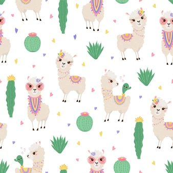 Seamless pattern with cute llamas and cacti