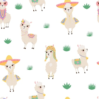Seamless pattern with cute llamas illustration