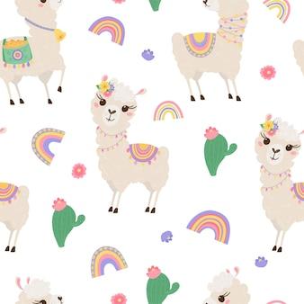 Бесшовный фон с милыми ламами, радугой и кактусами. фон с забавными младенцами альпаками для текстиля, детской одежды, обоев. векторная иллюстрация