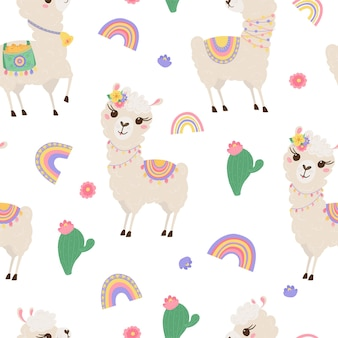 Seamless pattern with cute llamas, rainbow and cacti. background with funny alpaca babies for textiles, children's clothing, wallpaper. vector illustration