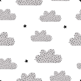 Seamless pattern with a cute logo and stars on a white background vector illustration