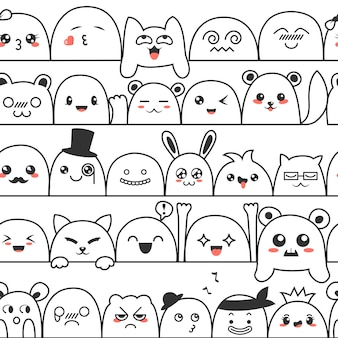 Seamless pattern with cute lovely kawaii monsters and animals.