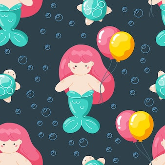 Seamless pattern with cute mermaid cartoon character