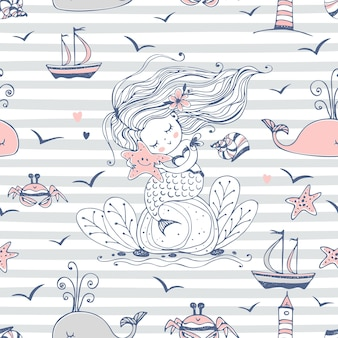 Seamless pattern with cute mermaid and sea creatures.