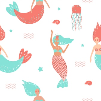 Seamless pattern with cute mermaids and jellyfish.