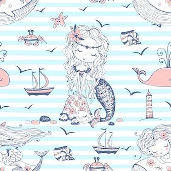 縞模様の背景にかわいい人魚とのシームレスなパターン。ベクター。