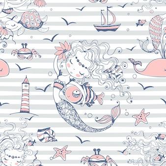 Бесшовный фон с милыми русалками на полосатом фоне. вектор.