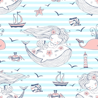 Seamless pattern with cute mermaids sleeping on whales on a striped background.