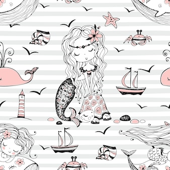 Seamless pattern with cute mermaids on a striped background. vector.