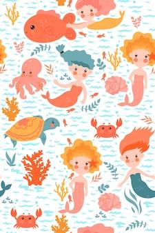 Бесшовный фон с милыми русалками.