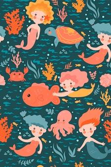 Бесшовный фон с милыми русалками