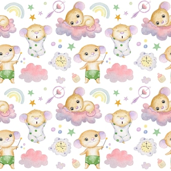 Seamless pattern with cute mice clouds stars and rainbow on a white background textile for children