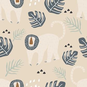 色の背景にかわいい猿と熱帯の葉とのシームレスなパターンベクトル図