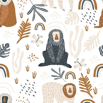 Seamless pattern with a cute monkey and a butterfly on a white background vector illustration