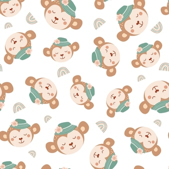 Seamless pattern with cute monkey in hat and rainbow. background with wild animals in flat style. illustration for kids. design for wallpaper, fabric, textiles, wrapping paper. vector