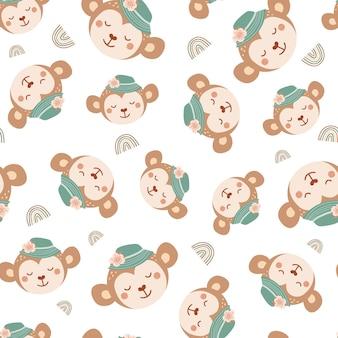 모자와 무지개에 귀여운 원숭이와 함께 완벽 한 패턴입니다. 평면 스타일에 야생 동물과 배경입니다. 아이들을 위한 삽화. 벽지, 직물, 직물, 포장지를 위한 디자인. 벡터