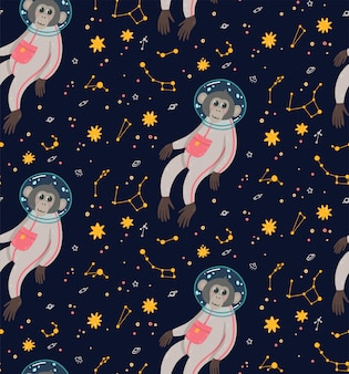 Seamless pattern with cute monkey in the space. ape in the cosmos surrounded by stars.