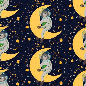 Seamless pattern with cute monkey in the space. funny children's vector illustration. ape in the cosmos surrounded by stars.