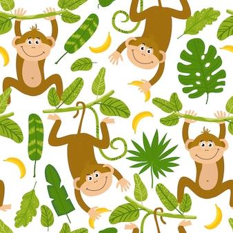 Seamless pattern with cute monkeys