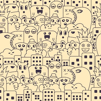Seamless pattern with cute monster doodle