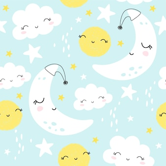 Seamless pattern with cute moon, tars and clouds. kids background.
