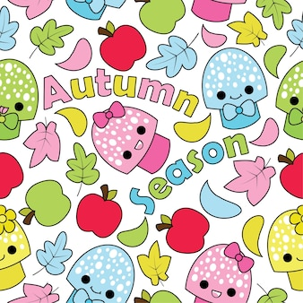 Seamless pattern with cute mushrooms, apples, and mapple leaves on white background vector cartoon suitable for kid autumn season wallpaper design, scrap paper and kid fabric clothes background