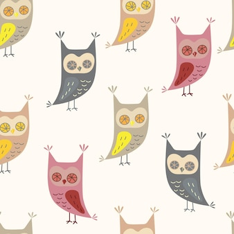 Seamless pattern with cute owl in cartoon style owl character vector illustration for print design