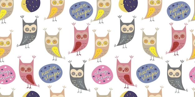 Seamless pattern with cute owl in cartoon style with motivation slogan  always dreams never sleeps