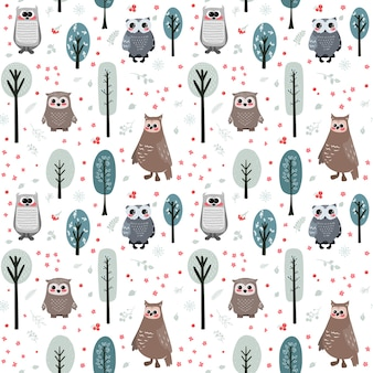 Seamless pattern with cute owl and different elements.  illustration in scandinavian style.