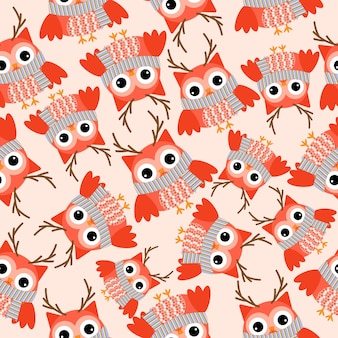 Seamless pattern with cute owl wears reindeer custom on orange