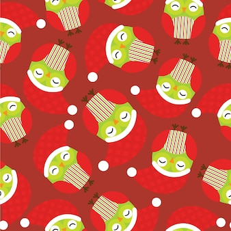Seamless pattern with cute owl wears santa hat on red background