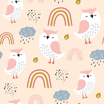Seamless pattern with cute owl