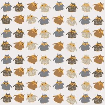 布のデザイン、壁紙、テキスタイル、ラッピング、その他のパターンの塗りつぶしのためのかわいいフクロウとのシームレスなパターン。ベクトルイラスト