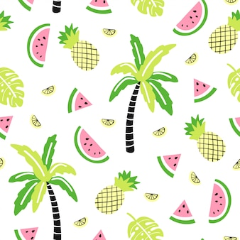 Seamless pattern with cute palm, watermelon, pineapple