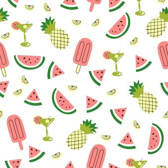 귀여운 팜 수박 파인애플과 원활한 패턴