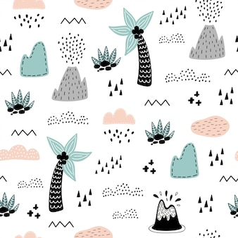 Seamless pattern with cute palm.