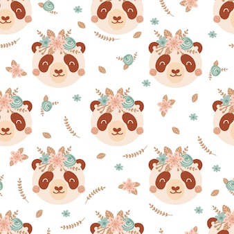 귀여운 팬더와 부케 핑크와 블루 꽃으로 완벽 한 패턴입니다. 평면 스타일에 야생 동물과 배경입니다. 아이들을 위한 삽화. 벽지, 직물, 직물, 포장지를 위한 디자인. 벡터