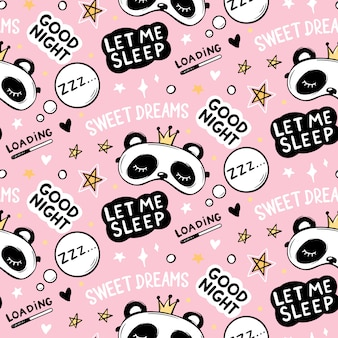 Seamless pattern with cute panda bear in crown sleep masks, good night lettering quote, stars and sweet dreams phrase. cartoon animals background, texture.