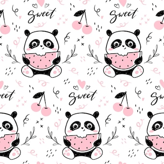 Seamless pattern with cute panda character eating watermelon.