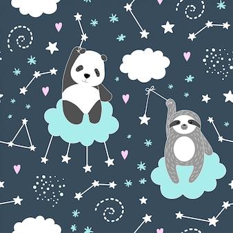 Seamless pattern with cute panda, sloth, stars